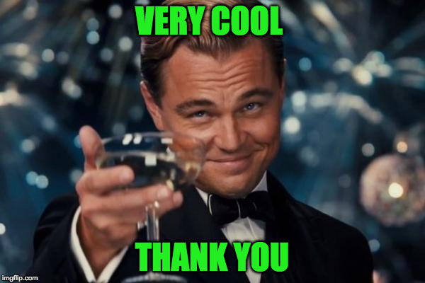 Leonardo Dicaprio Cheers Meme | VERY COOL THANK YOU | image tagged in memes,leonardo dicaprio cheers | made w/ Imgflip meme maker
