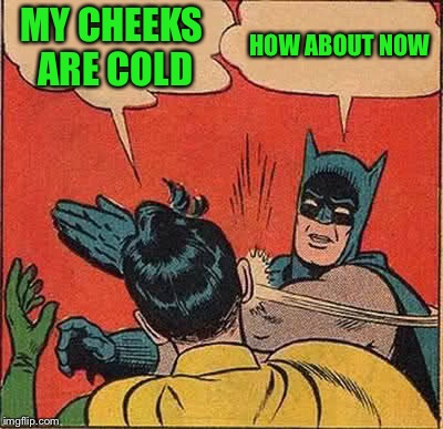 Batman Slapping Robin Meme | MY CHEEKS ARE COLD HOW ABOUT NOW | image tagged in memes,batman slapping robin | made w/ Imgflip meme maker