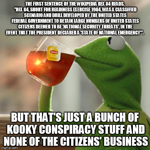 "But Thats None Of My Business Meme | THE FIRST SENTENCE OF THE WIKIPEDIA REX 84 READS, ""REX 84, SHORT FOR READINESS EXERCISE 1984, WAS A CLASSIFIED SCENARIO AND DRILL DEVELOPED  