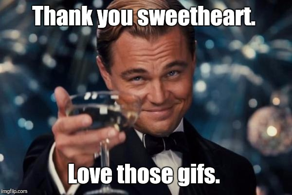 Leonardo Dicaprio Cheers Meme | Thank you sweetheart. Love those gifs. | image tagged in memes,leonardo dicaprio cheers | made w/ Imgflip meme maker