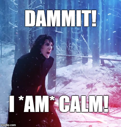 Calm | DAMMIT! I *AM* CALM! | image tagged in kylo ren traitor,calm,dammit | made w/ Imgflip meme maker