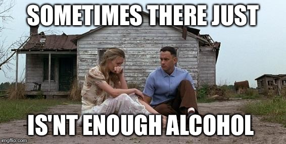 Forrest Gump and Jenny | SOMETIMES THERE JUST IS'NT ENOUGH ALCOHOL | image tagged in forrest gump and jenny | made w/ Imgflip meme maker
