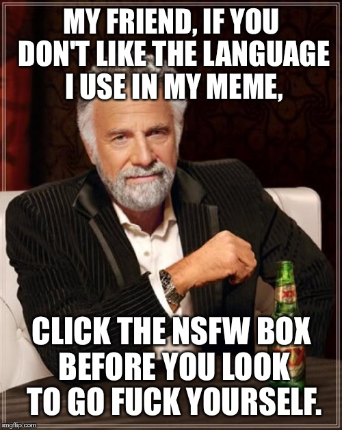 How insensitive of me, shit. | MY FRIEND, IF YOU DON'T LIKE THE LANGUAGE I USE IN MY MEME, CLICK THE NSFW BOX BEFORE YOU LOOK TO GO F**K YOURSELF. | image tagged in memes,the most interesting man in the world,look at me,i hunt moon rocks,she outs the comets in the basket | made w/ Imgflip meme maker