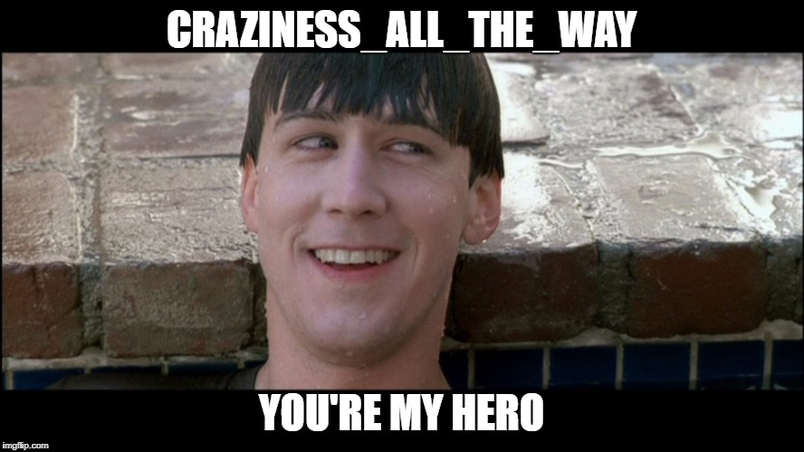 CRAZINESS_ALL_THE_WAY YOU'RE MY HERO | made w/ Imgflip meme maker