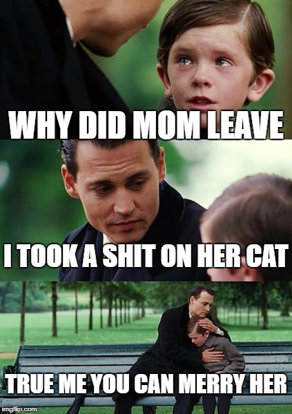 Finding Neverland Meme | WHY DID MOM LEAVE I TOOK A SHIT ON HER CAT TRUE ME YOU CAN MERRY HER | image tagged in memes,finding neverland | made w/ Imgflip meme maker