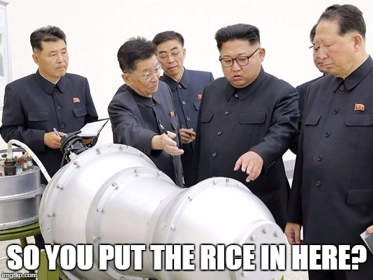 Kim Jong |  SO YOU PUT THE RICE IN HERE? | image tagged in kim jong,nuclear,leader,rice | made w/ Imgflip meme maker