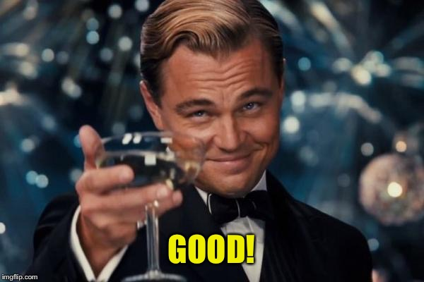 Leonardo Dicaprio Cheers Meme | GOOD! | image tagged in memes,leonardo dicaprio cheers | made w/ Imgflip meme maker
