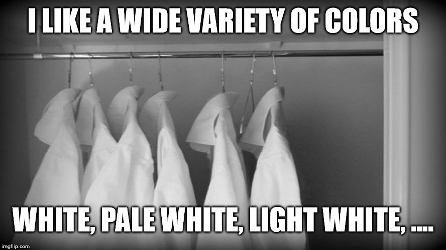 I LIKE A WIDE VARIETY OF COLORS WHITE, PALE WHITE, LIGHT WHITE, .... | made w/ Imgflip meme maker