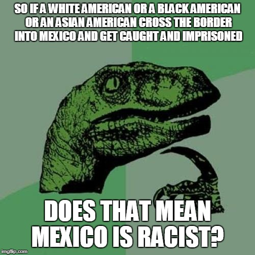 Philosoraptor Meme | SO IF A WHITE AMERICAN OR A BLACK AMERICAN OR AN ASIAN AMERICAN CROSS THE BORDER INTO MEXICO AND GET CAUGHT AND IMPRISONED DOES THAT MEAN ME | image tagged in memes,philosoraptor | made w/ Imgflip meme maker