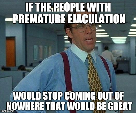 That Would Be Great Meme | IF THE PEOPLE WITH PREMATURE EJACULATION WOULD STOP COMING OUT OF NOWHERE THAT WOULD BE GREAT | image tagged in memes,that would be great | made w/ Imgflip meme maker
