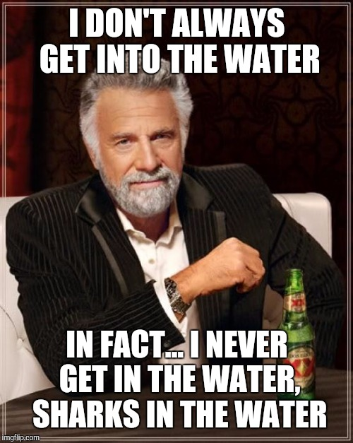 The Most Interesting Man In The World Meme | I DON'T ALWAYS GET INTO THE WATER IN FACT... I NEVER GET IN THE WATER, SHARKS IN THE WATER | image tagged in memes,the most interesting man in the world | made w/ Imgflip meme maker