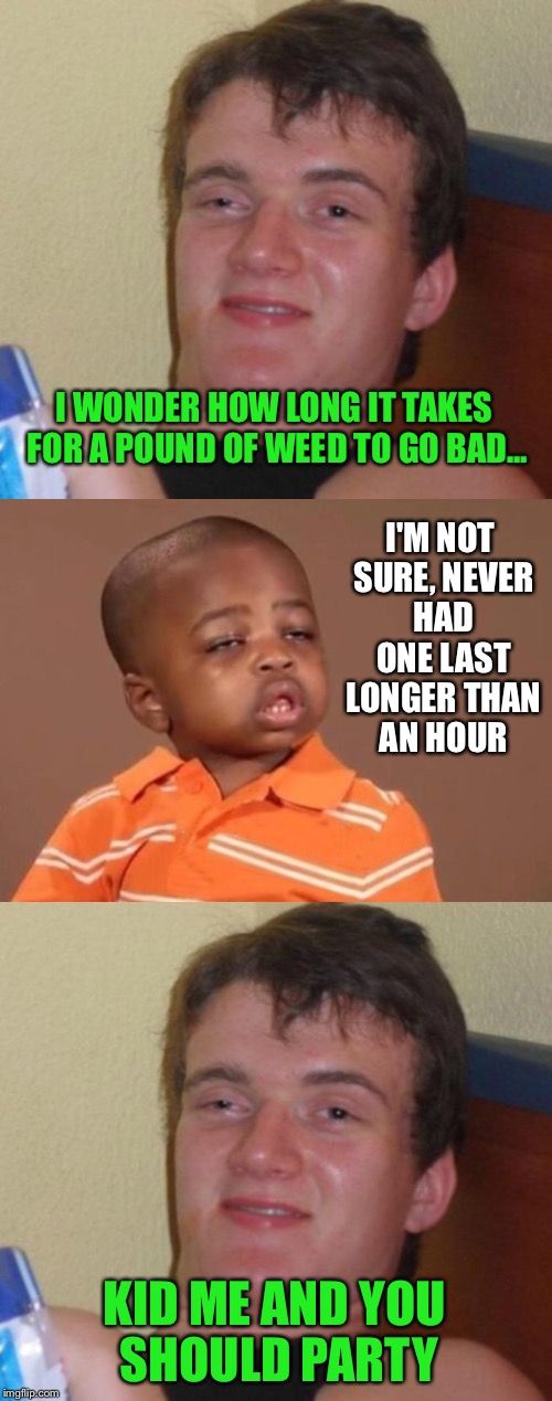 A meeting of great minds | I WONDER HOW LONG IT TAKES FOR A POUND OF WEED TO GO BAD... KID ME AND YOU SHOULD PARTY I'M NOT SURE, NEVER HAD ONE LAST LONGER THAN AN HOUR | image tagged in 10 guy,stoner,pothead,420,weed,high | made w/ Imgflip meme maker