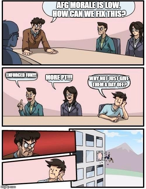 Boardroom Meeting Suggestion Meme | AFG MORALE IS LOW. HOW CAN WE FIX THIS? ENFORCED FUN!!! MORE PT!!! WHY NOT JUST GIVE THEM A DAY OFF? | image tagged in memes,boardroom meeting suggestion | made w/ Imgflip meme maker