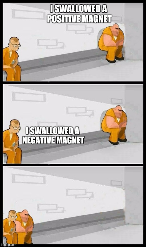 Prisoners Alternate | I SWALLOWED A POSITIVE MAGNET I SWALLOWED A NEGATIVE MAGNET | image tagged in prisoners alternate | made w/ Imgflip meme maker