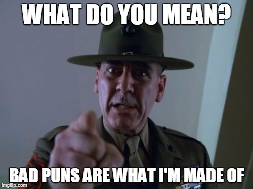 Girls Just Wanna Have Puns! | WHAT DO YOU MEAN? BAD PUNS ARE WHAT I'M MADE OF | image tagged in memes,sergeant hartmann,jokes,bad puns | made w/ Imgflip meme maker