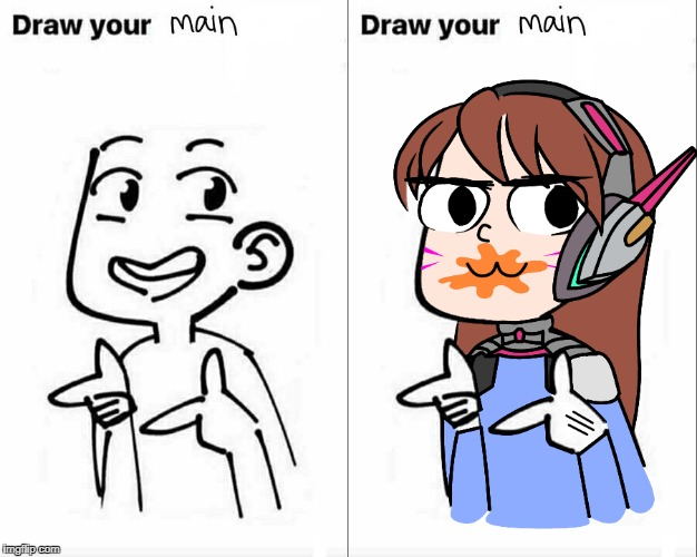 Draw Your Main | image tagged in dva,diva,overwatch,drawing,base,gremlin | made w/ Imgflip meme maker