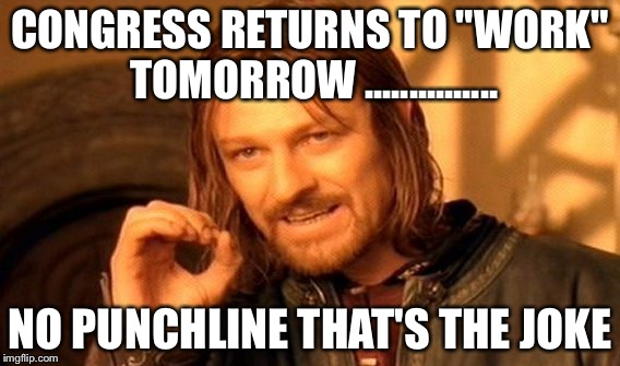 "One Does Not Simply Meme | CONGRESS RETURNS TO ""WORK"" TOMORROW ............... NO PUNCHLINE THAT'S THE JOKE 