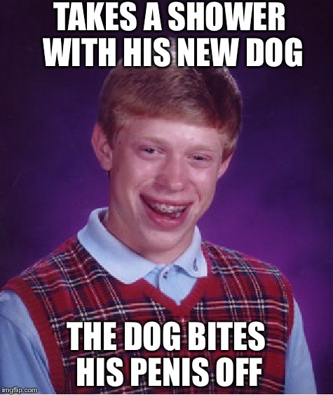 It would have been much worse i believe(i can fly). | TAKES A SHOWER WITH HIS NEW DOG THE DOG BITES HIS P**IS OFF | image tagged in memes,bad luck brian,funny,dogs,shower | made w/ Imgflip meme maker