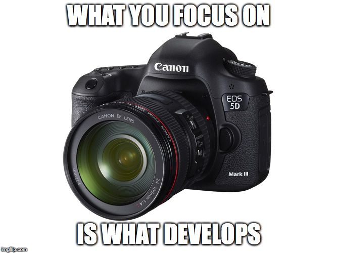 WHAT YOU FOCUS ON IS WHAT DEVELOPS | image tagged in picture of a camera | made w/ Imgflip meme maker