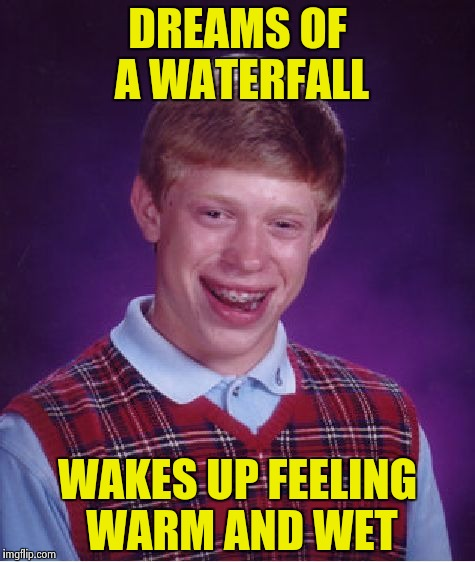 Bad Luck Brian Meme | DREAMS OF A WATERFALL WAKES UP FEELING WARM AND WET | image tagged in memes,bad luck brian | made w/ Imgflip meme maker