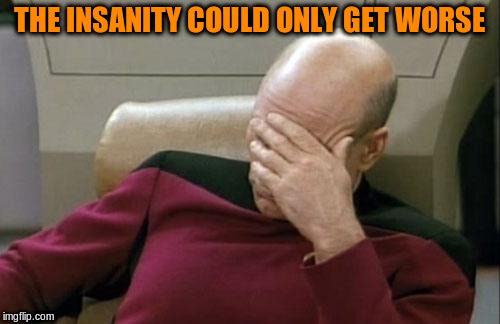 Captain Picard Facepalm Meme | THE INSANITY COULD ONLY GET WORSE | image tagged in memes,captain picard facepalm | made w/ Imgflip meme maker