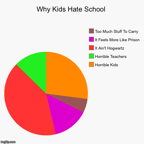Why Kids Hate School | Why Kids Hate School | Horrible Kids, Horrible Teachers, It Ain't Hogwartz, It Feels More Like Prison, Too Much Stuff To Carry | image tagged in funny,pie charts,school,i hate school,hogwarts,prison | made w/ Imgflip chart maker