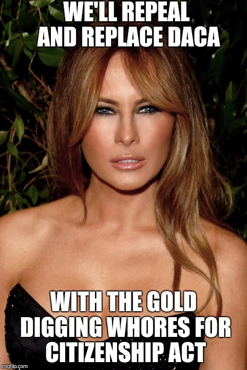melania trump | WE'LL REPEAL AND REPLACE DACA WITH THE GOLD DIGGING W**RES FOR CITIZENSHIP ACT | image tagged in melania trump | made w/ Imgflip meme maker