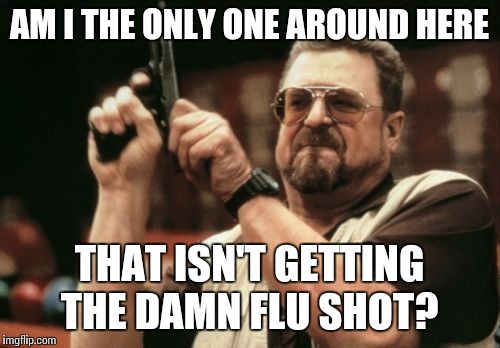 Am I The Only One Around Here Meme | AM I THE ONLY ONE AROUND HERE THAT ISN'T GETTING THE DAMN FLU SHOT? | image tagged in memes,am i the only one around here | made w/ Imgflip meme maker