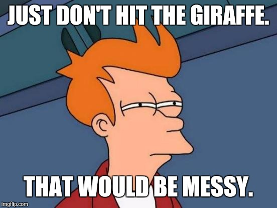Futurama Fry Meme | JUST DON'T HIT THE GIRAFFE. THAT WOULD BE MESSY. | image tagged in memes,futurama fry | made w/ Imgflip meme maker