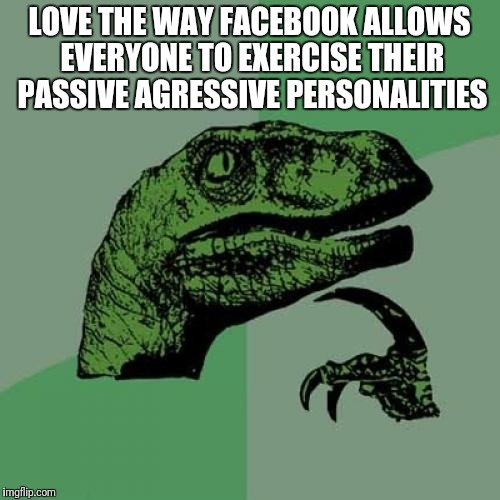 Philosoraptor Meme | LOVE THE WAY FACEBOOK ALLOWS EVERYONE TO EXERCISE THEIR PASSIVE AGRESSIVE PERSONALITIES | image tagged in memes,philosoraptor | made w/ Imgflip meme maker