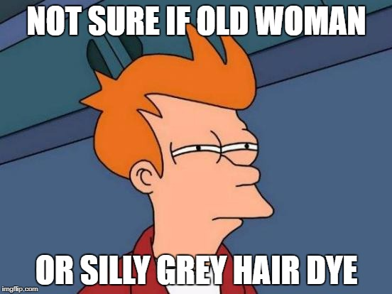 Futurama Fry Meme | NOT SURE IF OLD WOMAN OR SILLY GREY HAIR DYE | image tagged in memes,futurama fry | made w/ Imgflip meme maker