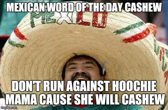 mexican word of the day | MEXICAN WORD OF THE DAY CASHEW DON'T RUN AGAINST HOOCHIE MAMA CAUSE SHE WILL CASHEW | image tagged in mexican word of the day | made w/ Imgflip meme maker