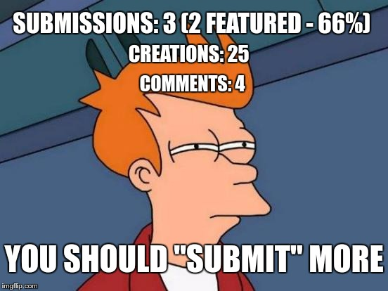 "Futurama Fry Meme | SUBMISSIONS: 3 (2 FEATURED - 66%) CREATIONS: 25 COMMENTS: 4 YOU SHOULD ""SUBMIT"" MORE 