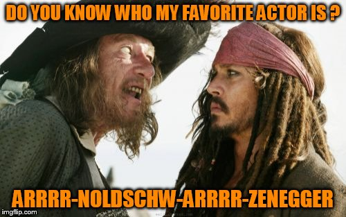 Barbosa And Sparrow | DO YOU KNOW WHO MY FAVORITE ACTOR IS ? ARRRR-NOLDSCHW-ARRRR-ZENEGGER | image tagged in memes,barbosa and sparrow | made w/ Imgflip meme maker