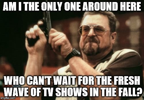 Am I The Only One Around Here Meme | AM I THE ONLY ONE AROUND HERE WHO CAN'T WAIT FOR THE FRESH WAVE OF TV SHOWS IN THE FALL? | image tagged in memes,am i the only one around here | made w/ Imgflip meme maker