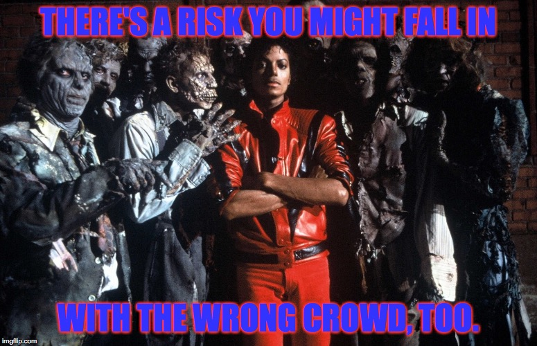 THERE'S A RISK YOU MIGHT FALL IN WITH THE WRONG CROWD, TOO. | made w/ Imgflip meme maker