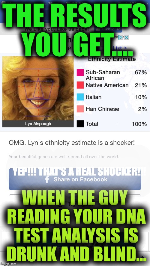 I don't think I trust the results of this DNA test! | THE RESULTS YOU GET.... WHEN THE GUY READING YOUR DNA TEST ANALYSIS IS DRUNK AND BLIND... YEP!!! THAT'S A REAL SHOCKER!!! | image tagged in dna,results,testing,race,heritage | made w/ Imgflip meme maker