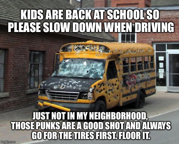 Predictably, home sales are slow near Chuck Norris Elementary school | KIDS ARE BACK AT SCHOOL SO PLEASE SLOW DOWN WHEN DRIVING JUST NOT IN MY NEIGHBORHOOD, THOSE PUNKS ARE A GOOD SHOT AND ALWAYS GO FOR THE TIRE | image tagged in back to school,school bus,short bus,guns,shooting,kids | made w/ Imgflip meme maker