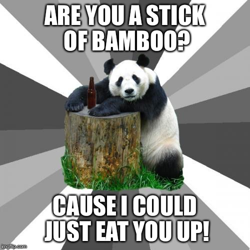 Pickup Line Panda | ARE YOU A STICK OF BAMBOO? CAUSE I COULD JUST EAT YOU UP! | image tagged in memes,pickup line panda | made w/ Imgflip meme maker