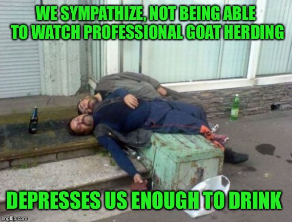 WE SYMPATHIZE, NOT BEING ABLE TO WATCH PROFESSIONAL GOAT HERDING DEPRESSES US ENOUGH TO DRINK | made w/ Imgflip meme maker
