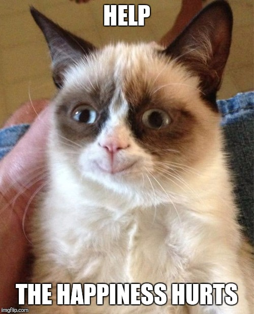 Quick, sombody get a doctor! | HELP THE HAPPINESS HURTS | image tagged in memes,grumpy cat happy,grumpy cat | made w/ Imgflip meme maker