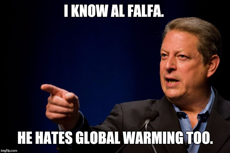 Memes, Al Gore | I KNOW AL FALFA. HE HATES GLOBAL WARMING TOO. | image tagged in memes,al gore | made w/ Imgflip meme maker