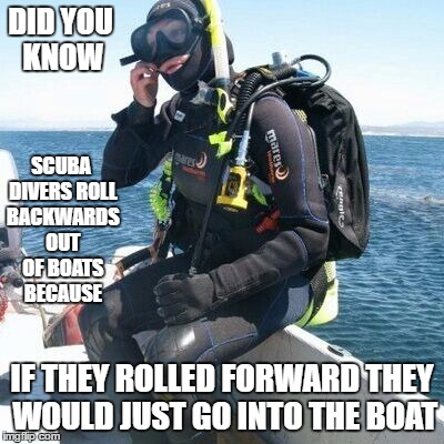 Something to think about | DID YOU KNOW IF THEY ROLLED FORWARD THEY WOULD JUST GO INTO THE BOAT SCUBA DIVERS ROLL BACKWARDS OUT OF BOATS BECAUSE | image tagged in dumbass,scuba diving | made w/ Imgflip meme maker