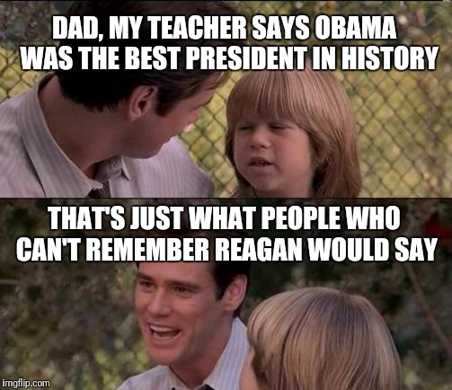 Thats Just Something X Say Meme | DAD, MY TEACHER SAYS OBAMA  WAS THE BEST PRESIDENT IN HISTORY THAT'S JUST WHAT PEOPLE WHO CAN'T REMEMBER REAGAN WOULD SAY | image tagged in memes,thats just something x say | made w/ Imgflip meme maker