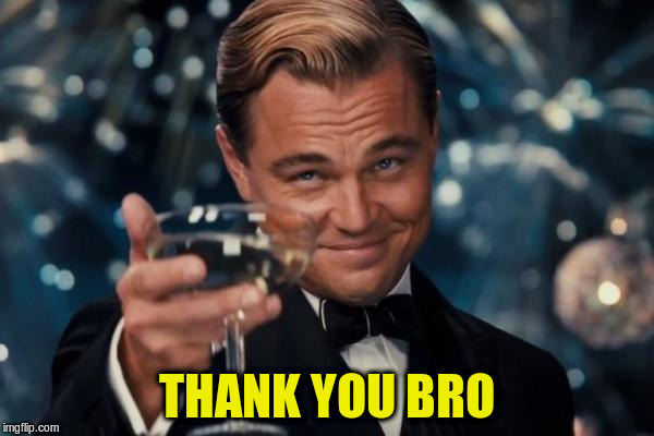 Leonardo Dicaprio Cheers Meme | THANK YOU BRO | image tagged in memes,leonardo dicaprio cheers | made w/ Imgflip meme maker