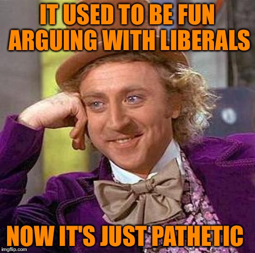 Creepy Condescending Wonka Meme | IT USED TO BE FUN ARGUING WITH LIBERALS NOW IT'S JUST PATHETIC | image tagged in memes,creepy condescending wonka | made w/ Imgflip meme maker