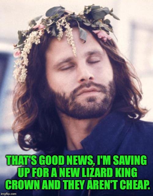 THAT'S GOOD NEWS, I'M SAVING UP FOR A NEW LIZARD KING CROWN AND THEY AREN'T CHEAP. | made w/ Imgflip meme maker