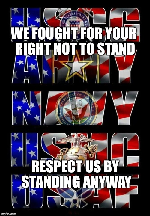 Support our military | WE FOUGHT FOR YOUR RIGHT NOT TO STAND RESPECT US BY STANDING ANYWAY | image tagged in support | made w/ Imgflip meme maker
