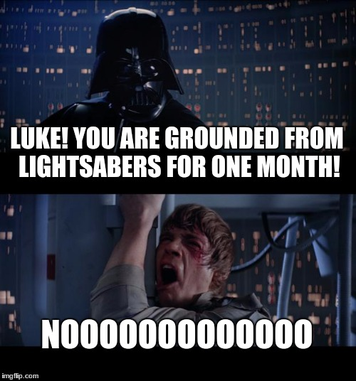 Star Wars No Meme | LUKE! YOU ARE GROUNDED FROM LIGHTSABERS FOR ONE MONTH! NOOOOOOOOOOOOO | image tagged in memes,star wars no | made w/ Imgflip meme maker