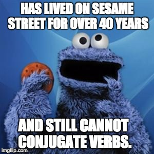 cookie monster | HAS LIVED ON SESAME STREET FOR OVER 40 YEARS AND STILL CANNOT CONJUGATE VERBS. | image tagged in cookie monster | made w/ Imgflip meme maker